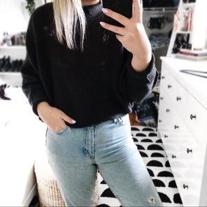 Zara dark grey ribbed mock neck batwing sweater